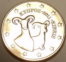 Buy Gem Unc Cyprus 2011 2 Euro Cents~Double Rams~We Have Cyprus Coins~Free Shipping