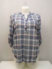 Buy No Boundaries Women's Henley Top Size XXL Blue Plaid Pullover 3/4 Sleeves Pocket