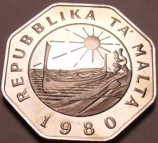 Buy Huge Rare Proof Malta 1980 25 Cents~Only 3,451 Minted~Fantastic~Free Shipping~