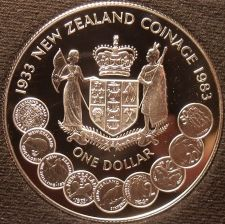 Buy Rare Silver Proof New Zealand 1983 Dollar~35,000 Minted~50 Years Of Coinage~Fr/S