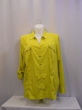 Buy Style & Co Blouse Plus Size 3X Olive Button Down Shirt Long Roll Tab Sleeves