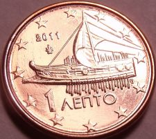 Buy Gem Unc Greece 2011 1 Euro Cent~Freighter Coin~Great Price~Free Shipping