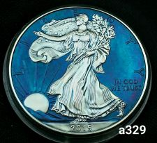 Buy 2015 Rainbow Toned Silver American Eagle 1 ounce fine silver uncirculated #a329