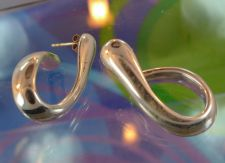 "Buy Puffy ""J"" Hoop Earrings : Post NF Sterling Silver Wax Mold Light Weight"