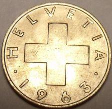 Buy Gem Uncirculated Switzerland 1963B 2 Rappen~Cross~Free Shipping