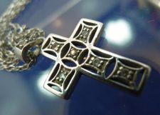 "Buy Cross Pendant Sterling 925 Silver & Rhinestone on 30"" Rope Sterling Chain"