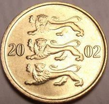 Buy Gem Unc Estonia 2002 10 Senti~3 Leopards Stacked On Each Other~Free Shipping