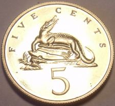 Buy Rare Proof Jamaica 1974 5 Cents~American Crocodile~Only 22,000 Minted~Free Ship