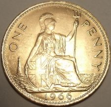Buy Huge Gem Unc Great Britain 1966 Penny~See Our UK Coins~Excellent~Free Shipping