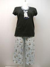 Buy SIZE M Women 2PC Knit PJs Set SECRET TREASURES Dog Woof Short Sleeve Crop Pants