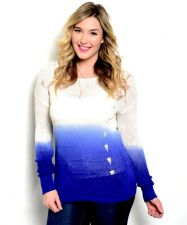 Buy Zenobia Womens Sweater Plus Size Ombre Tech Printing Distressed Sides Royal Blue