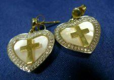 Buy Post Earrings Gold Vermeil over Sterling Cross & Heart Dangle Mother of Pearl