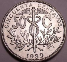 Buy Large Rare Gem Uncirculated Bolivia 1939 50 Centavos~Only Year Made~Free Ship