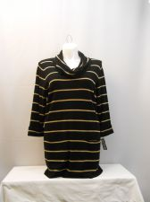 Buy PLUS SIZE 2X Tunic Sweater INC Black Gold Striped Cowl Neck 3/4Sleeves Knit