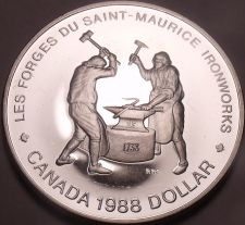 Buy Silver Cameo Proof Canada 1988 Iron Works Dollar~Only 255,013 Minted~Free Ship