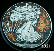 Buy 2015 Rainbow Toned Silver American Eagle Coin 1 ounce silver uncirculated #a321