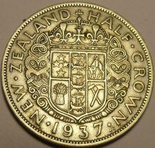 Buy Huge Silver New Zealand 1937 Half Crown~King George VI~1st Year Ever Minted~Fr/S