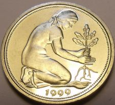 Buy Gem Cameo Proof Germany 1999-D 50 Pfennig~Women Planting An Oak Seedling~Free Sh