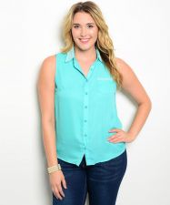 Buy Zenobia Womens Button Shirt Plus Size 1X-3X Solid Mint Beaded Collar Sleeveless