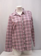 Buy Faded Glory Women's Button Down Shirt Size L Plaid Long Sleeves Collar Neck