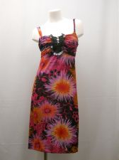 Buy Floral Pink 4 Button Split Neck W/ Ruffle Spaghetti Straps Beach Sundress Size M