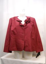 Buy PLUS SIZE 24W Womens Suit Jacket LE SUIT Mulberry Red Ruffled Neck Flower Pin