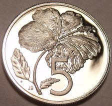 Buy Rare Proof Cook Islands 1972 5 Cents~17,000 Minted~Hibiscus~Free Shipping