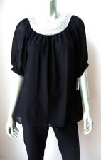 Buy Annalee + Hope NEW Blk Lined Chiffon Silver Sequins Collar Pullover Blouse M PR