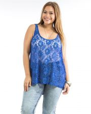 Buy Ambiance Apparel Blue Lace Front Sleeveless Scoop Neck Sheer Top Plus Size 1X-3X