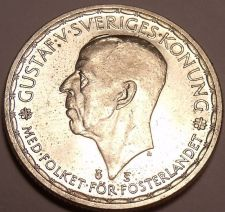 Buy Huge Unc Silver Sweden 1950-TS 2 Kronor~Gustaf V~last Year Ever Minted~Free Ship