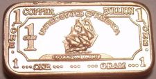 Buy Gem Unc .999 Pure Copper 1 Gram Ship With Sails Bar~Free Shipping