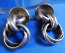 Buy Vintage Modernist Screw Back Earring : Sterling Silver - Many Chains - CLEAN ME