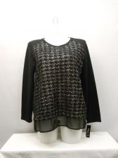 Buy Plus Size 2X Womens Tunic Sweater STYLE&CO. Foil Front Black Chiffon Layered Hem