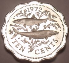 Buy Rare Proof Bahamas 1972 10 Cents~Bone Fish~11,000 Minted~Scalloped~Free Shipping