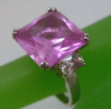 Buy sz 8 Sterling Silver Ring Large Pink Ice - Cubic Zirconia Baguettes ATI Thailand