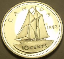 Buy Cameo Proof Canada 1993 10 Cents~Bluenose~143,065 Minted~Free Shipping