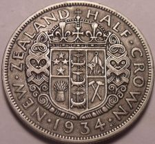 Buy Huge Silver New Zealand 1934 Half Crown~King George V~Free Shipping