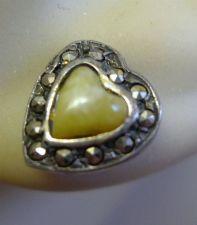 Buy Post Earrings : Vintage Silver & Jade Hearts w/ Marcasite Short Stems for Kids