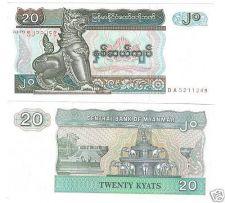 Buy MYANMAR 20 KYATS GEM UNC NOTE~ELEPHANT FOUNTAIN~FREE SH