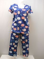Buy SIZE M Women 2PC Knit PJs Set SECRET TREASURES Blue Sheep Short Sleeve Crop Pant