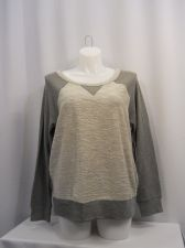 Buy Seven 7 Luxe Sweater Plus Size 1X Solid Gray Long Sleeves Crewneck 100% Cotton
