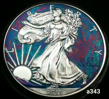 Buy 2015 Rainbow Monster Toned Silver American Eagle 1oz fine with velvet case #a343