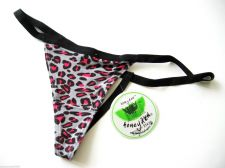 Buy X004 Honeydew Animal Print Ultra Soft Stretch Rayon G-String Grey Hot Pink New