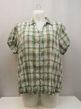 Buy Envision Studio Plaid Short Sleeve Collar Neck Button Down Shirt Size 26W/28W