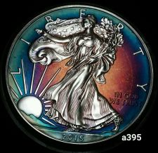 Buy 2015 Rainbow Monster Toned Silver American Eagle 1oz fine with velvet case #a395