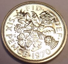 Buy Proof Great Britain 1970 6-Pence~Last Year Ever Minted~Wedding Coin~Free Ship