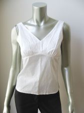 Buy Old Navy NEW White Embroidered Stretch Cotton Side Zip Sleeveless Blouse S PR