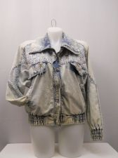 Buy SIZE L Womens VINTAGE Denim Jacket EAST WEST Long Sleeve Stonewashed Lace Trim