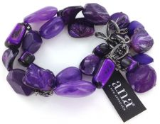 Buy A.N.A 2 Row Beaded Bracelet, purple