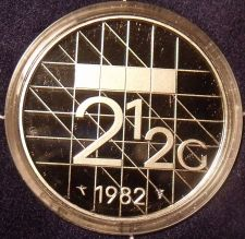 Buy Rare Encapsulated Proof Netherlands 1982 2 1/2 Gulden~10,000 Minted~Free Ship